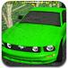 驾驶绿色跑车